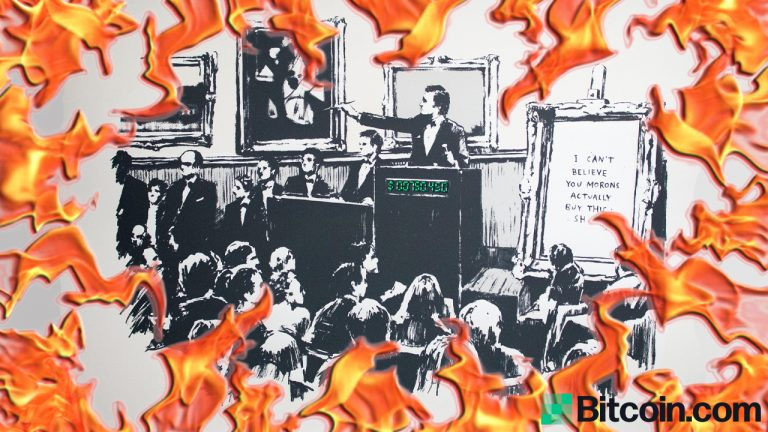 A Group of Crypto Proponents Burned an Original Banksy 'Morons' Print and Turned It Into an NFT