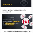 Got this in an email this morning, and posting it because people have been asking these past weeks. Binance direct deposit and withdrawal for Canadians.