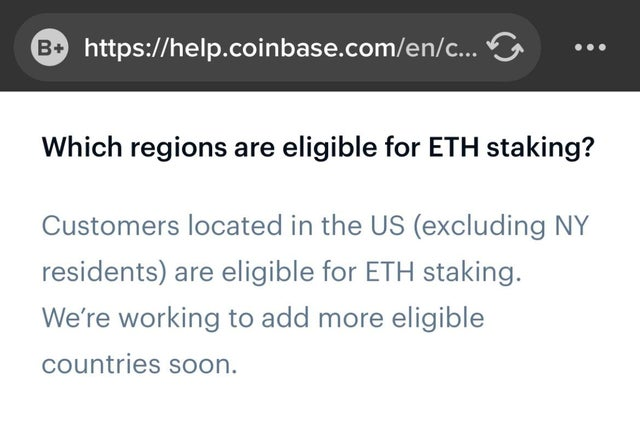 New York residents barred from ETH staking on Coinbase?