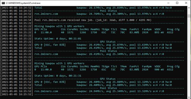 Ravencoin Mining AMD 5700xt at 135 watts